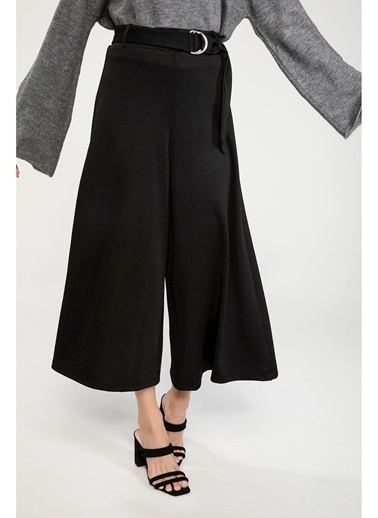 DeFacto Kemer Detaylı Culotte Pantolon Siyah